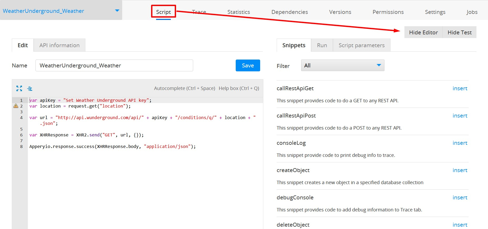 Server Code Script tab