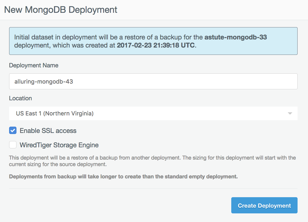 Restoring to a new deployment dialogue.