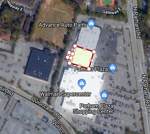 Accurate location, shape and size within the context of a strip mall.