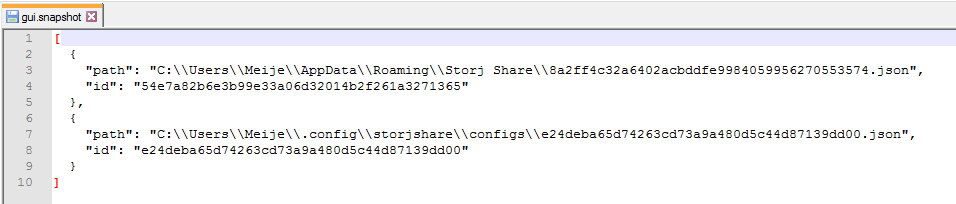 *Figure 4.4. Storj Share GUI v5+ snapshot. All config file locations + node ID's are saved in this file.*