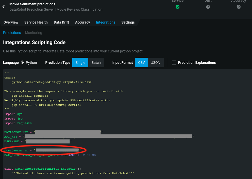 Deployment ID in the integrations tab code snippet