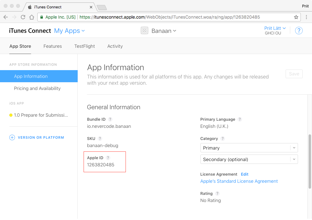 TestFlight Beta Test in iTunes Connect