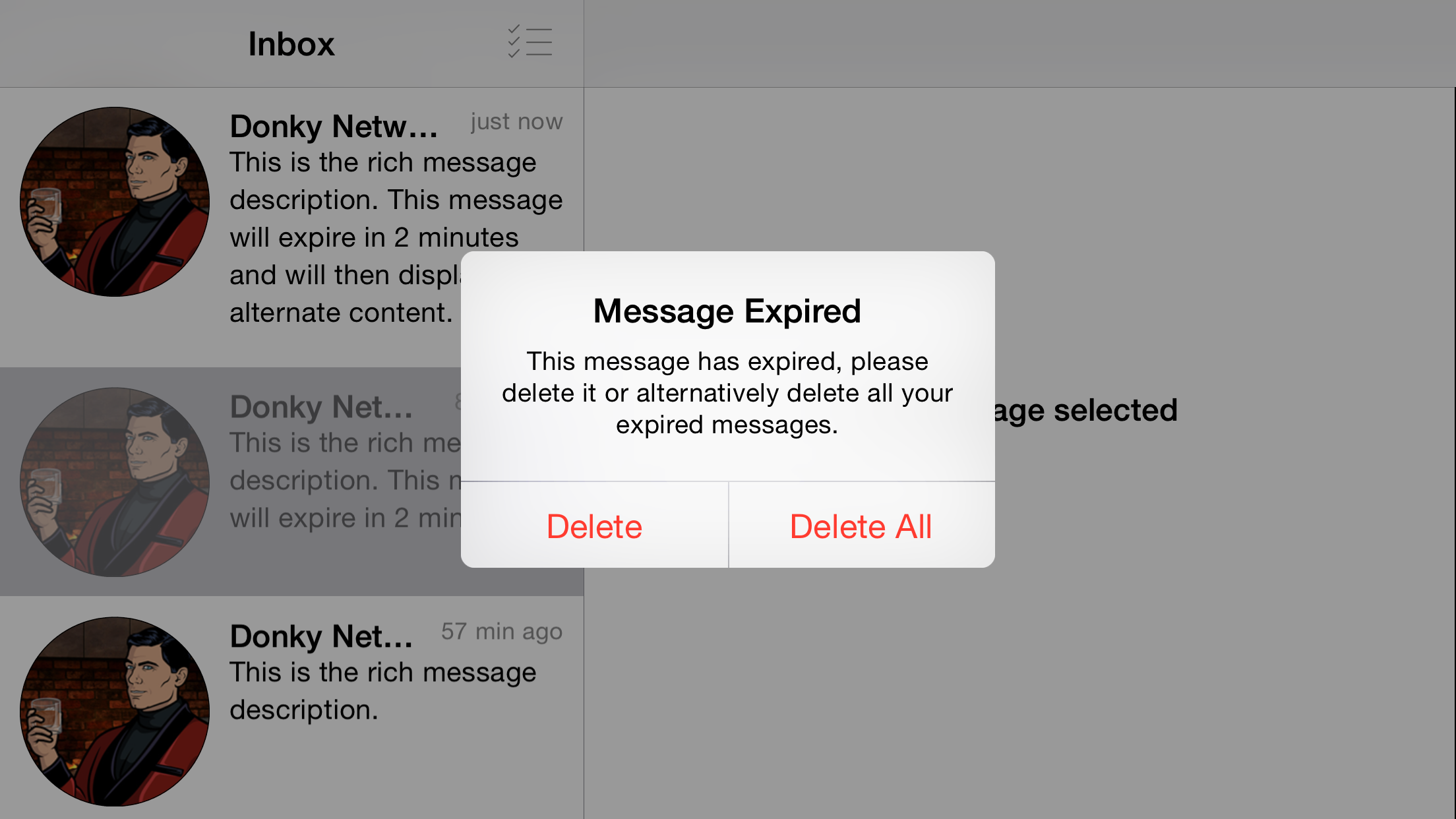 An example of the alert view that is presented to the user if they tap an expired message. On an iPhone 6+, iOS 8.4 in Landscape.