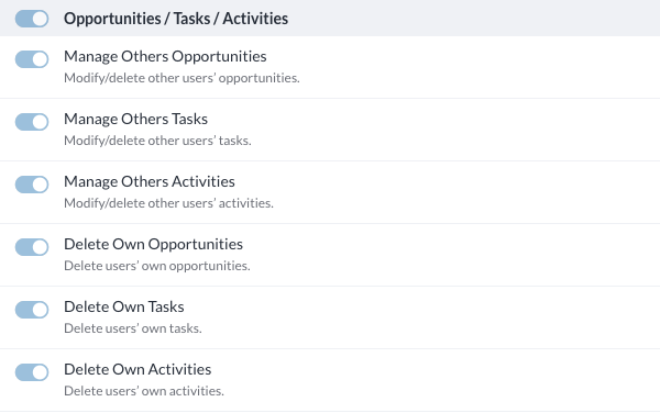 Opportunities / Tasks / Activities
