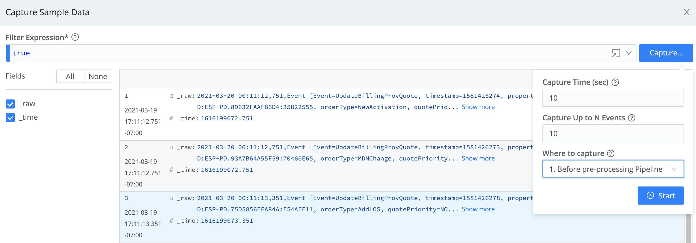 CaptureNew > CaptureSample Data modal