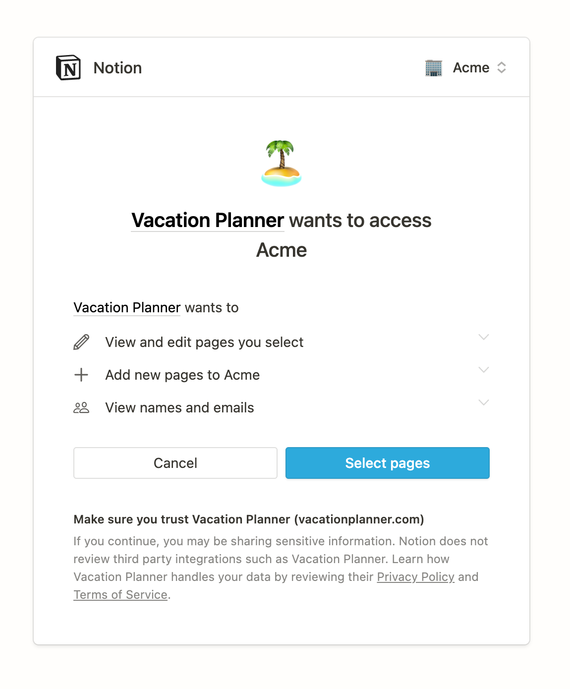 Integration authorization