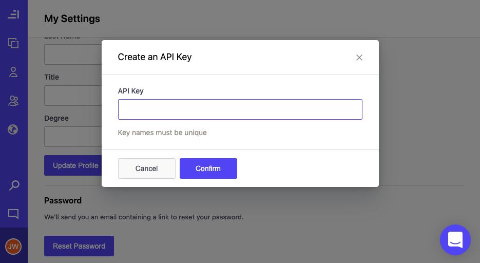 Set a name for your new API Key/Secret
