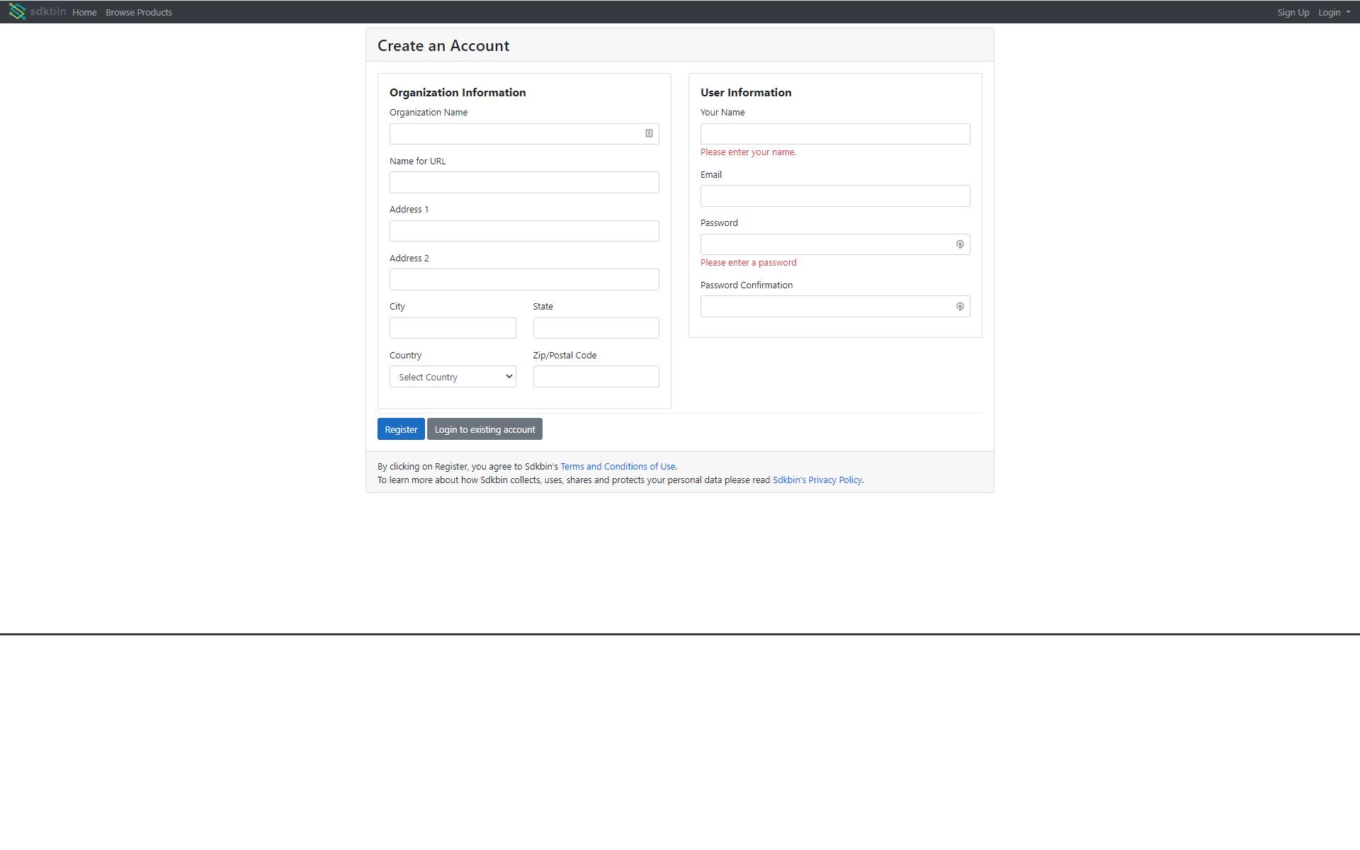 Sdkbin Account Registration Page