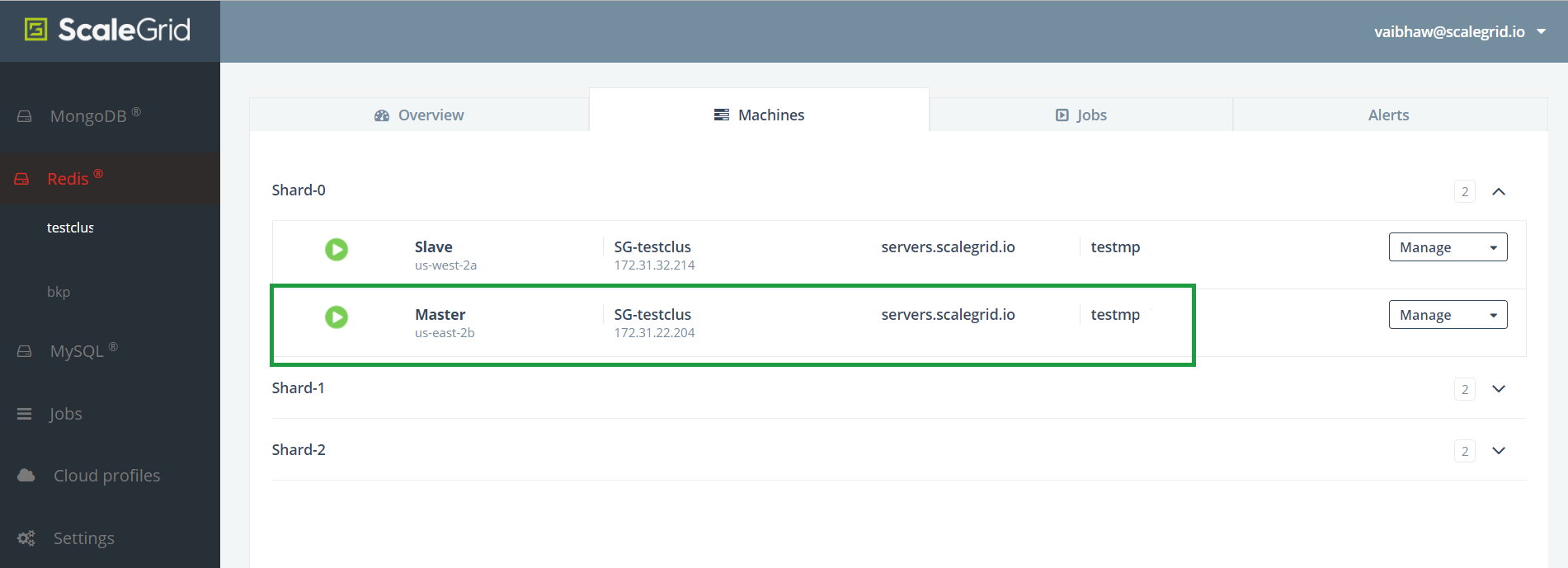 The Machines tab in cluster details page