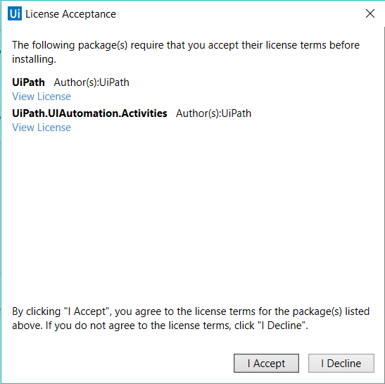 Managing Activities Packages