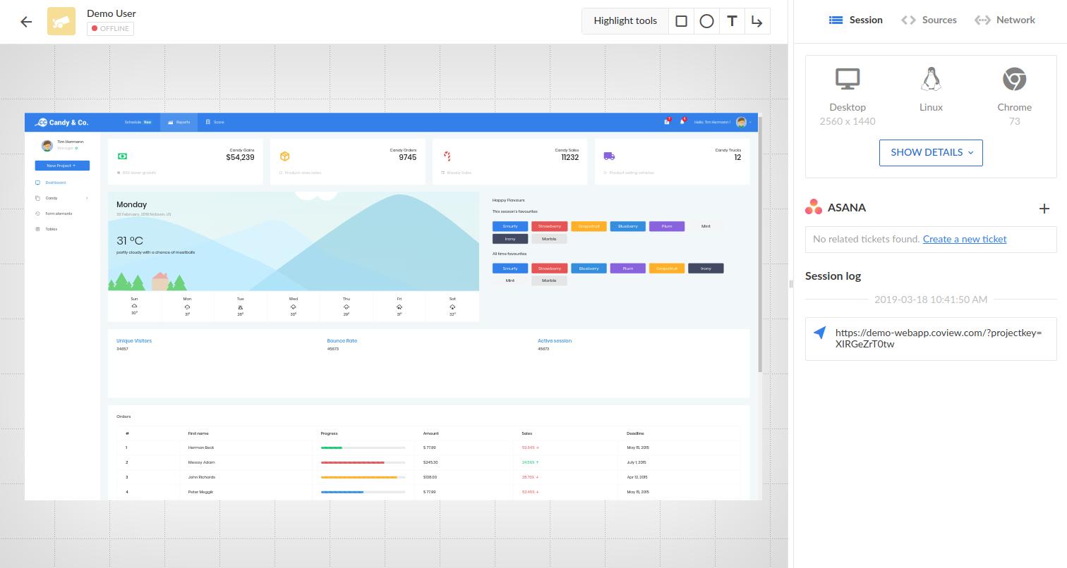 Screenshot page with Asana integration.