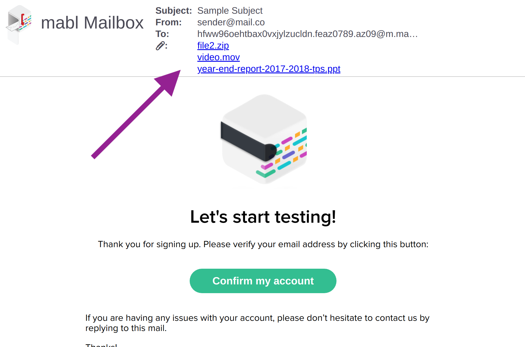 The location of attachments within a mabl Mailbox rendered email.