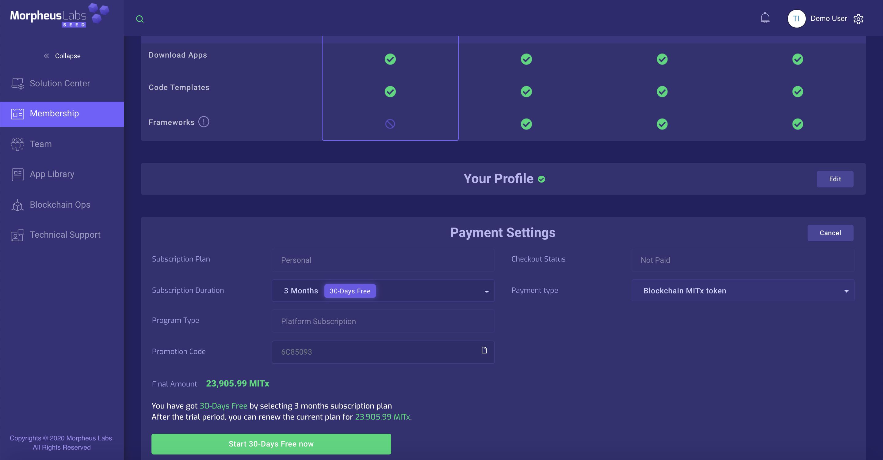 Payment Settings when selecting a free trial plan