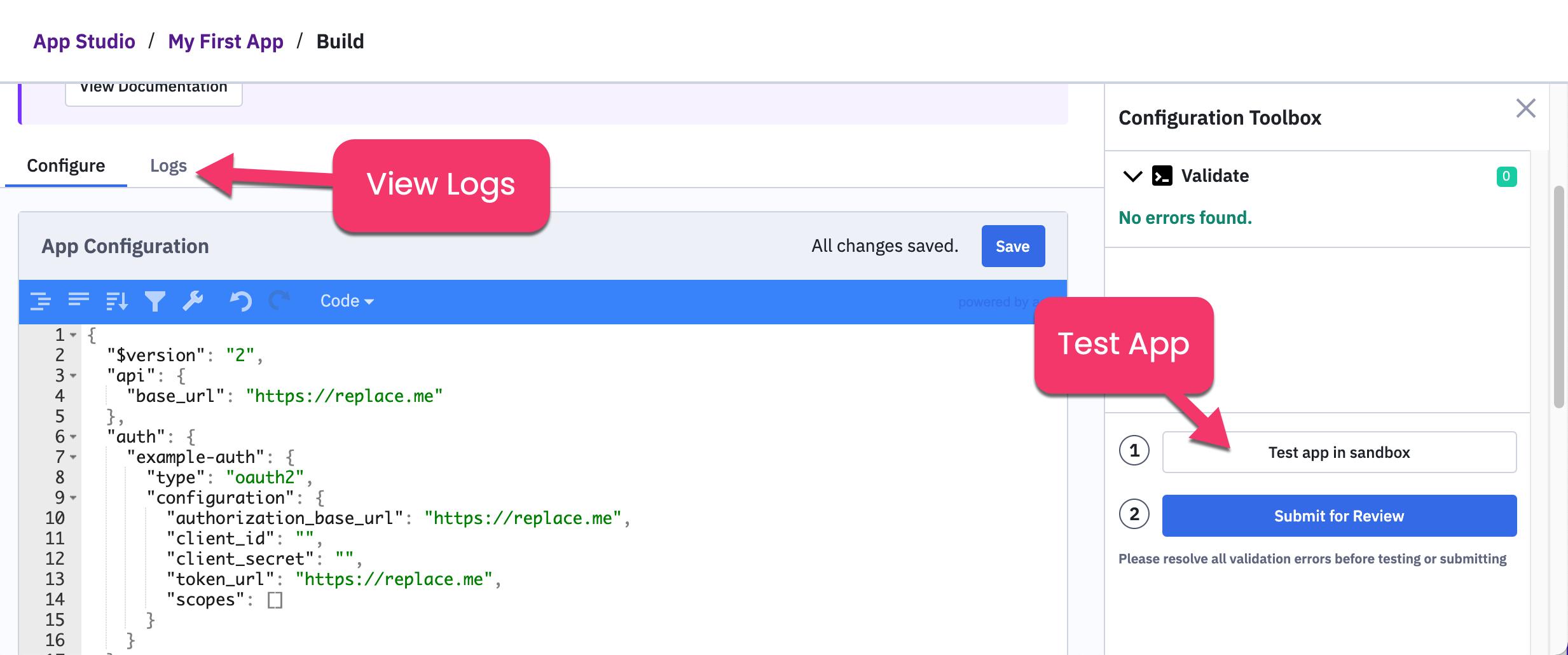 Test App in sandbox