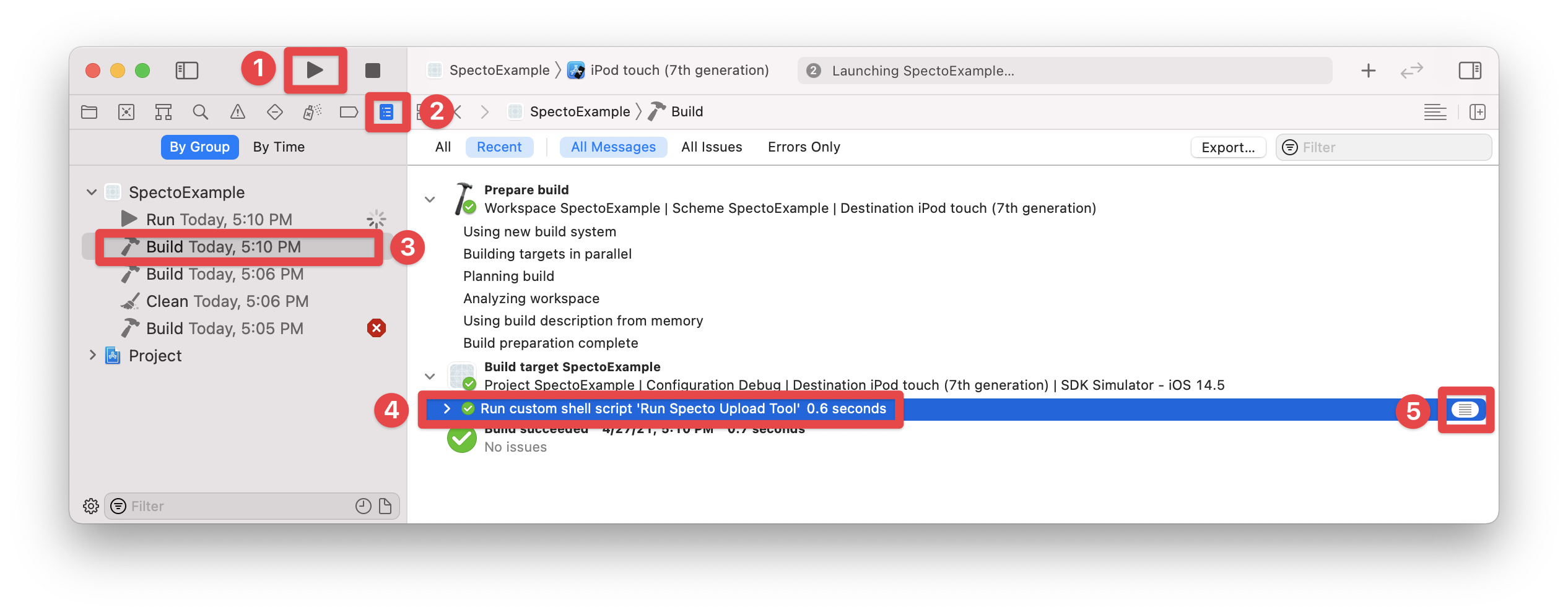 Building & running the app in Xcode, and viewing the build results (steps 1-5)