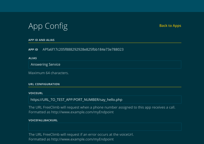 Example completed App Config.