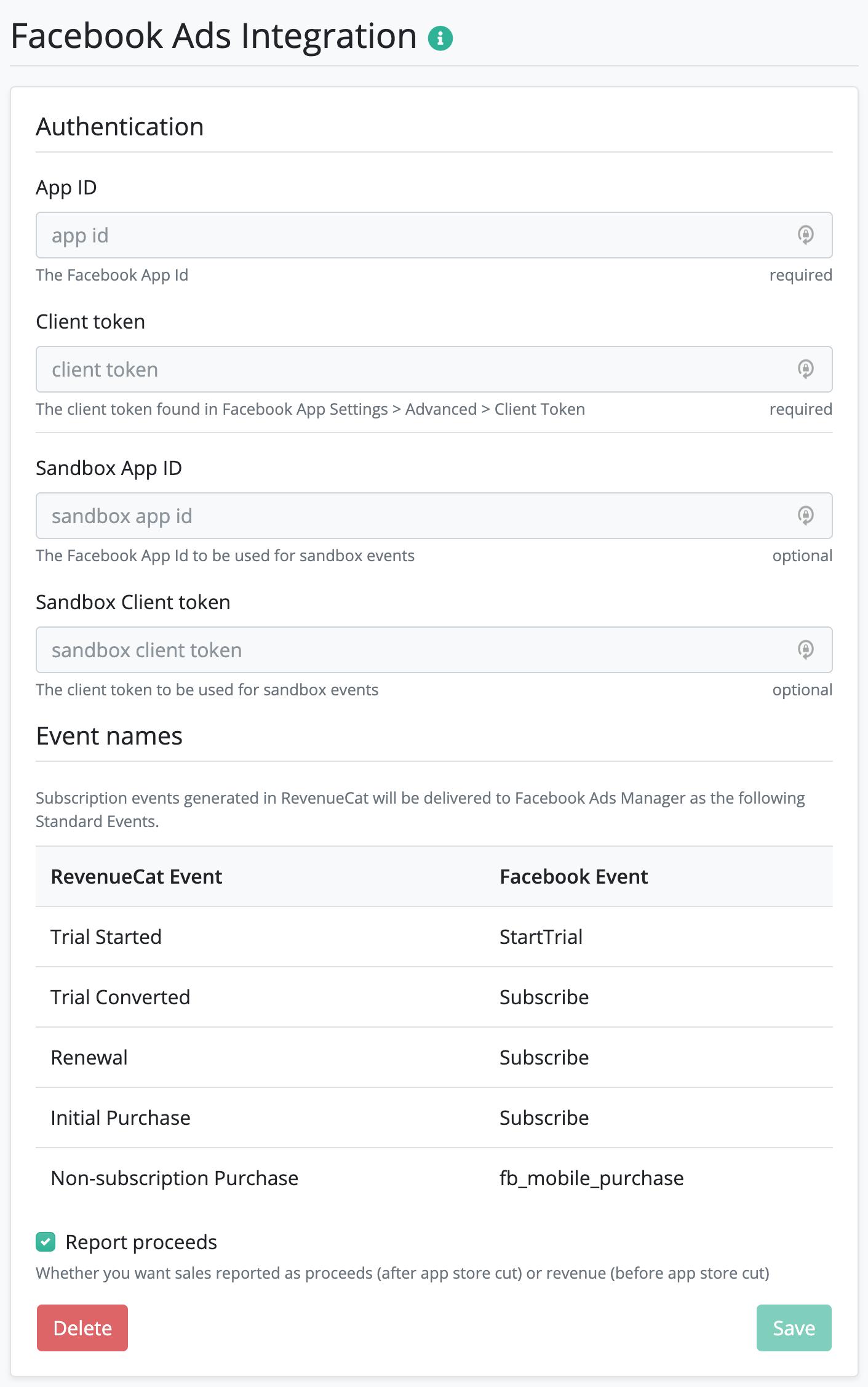 Facebook Ads configuration screen