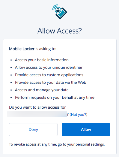 Connect to salesforce salesforce will prompt you to allow mobile locker to have access to your salesforce data click allow to proceed thecheapjerseys Image collections