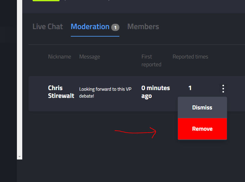 Remove the message, or dismiss the report from the Moderation tab.