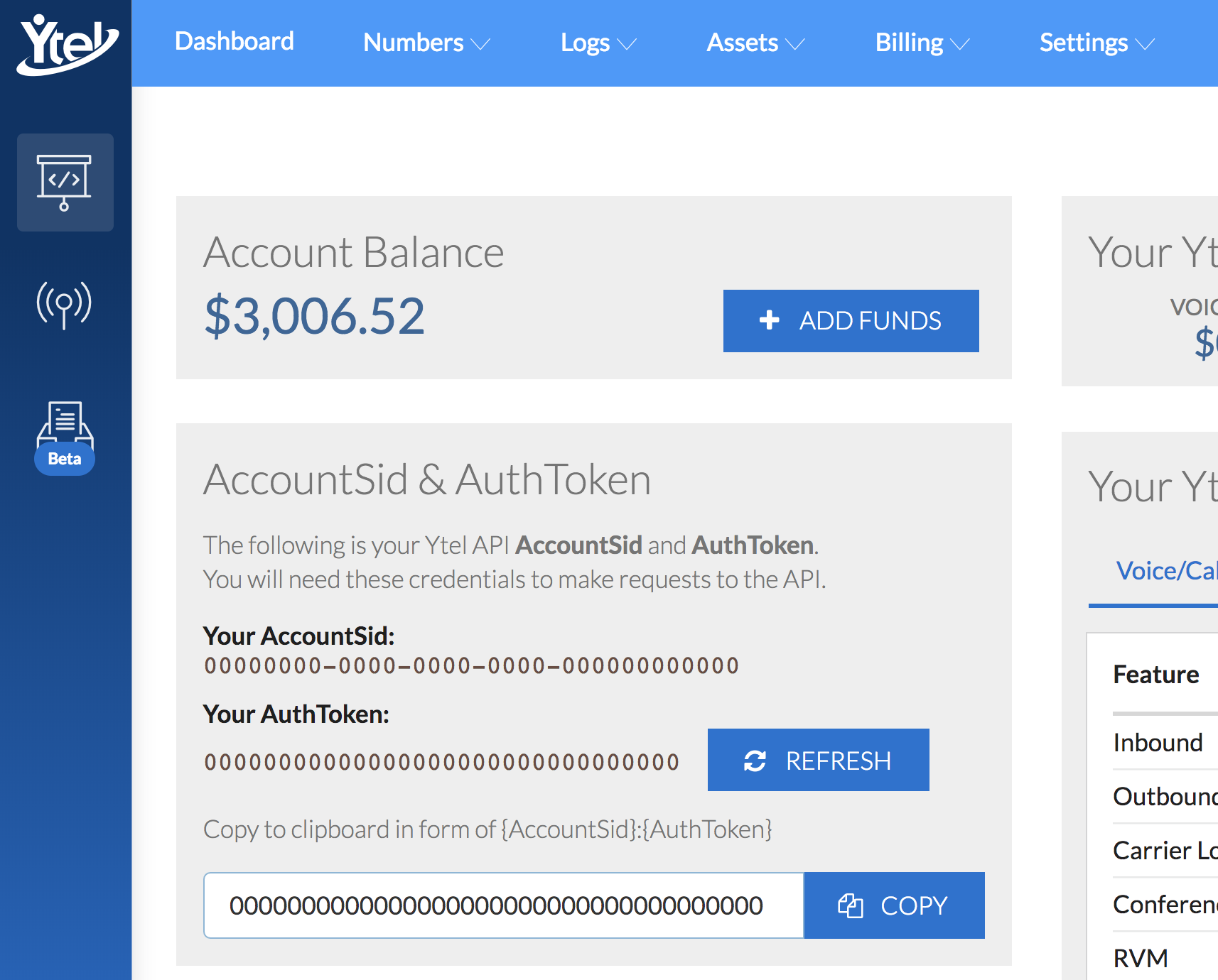 Location of your Account SID and token in the Dashboard