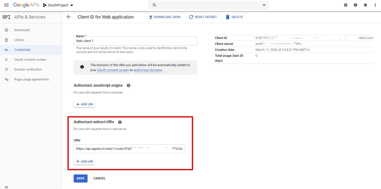 Setting redirect URL.