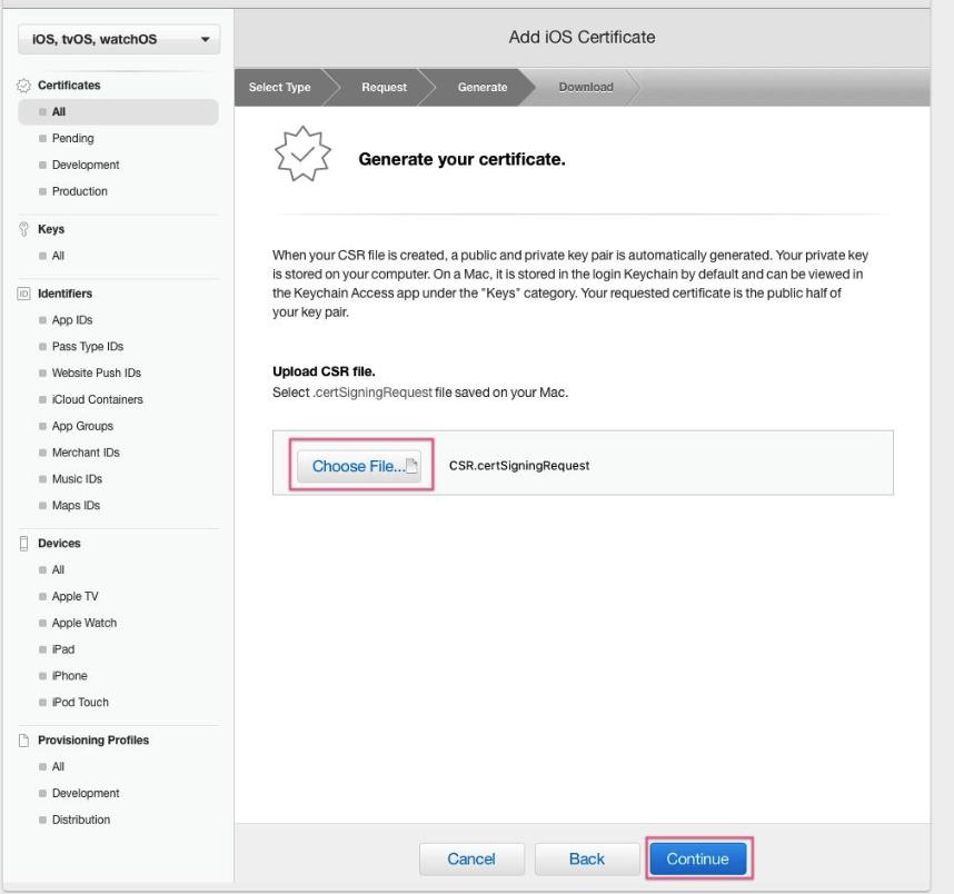 create universal apns sertificate for ios app, step five