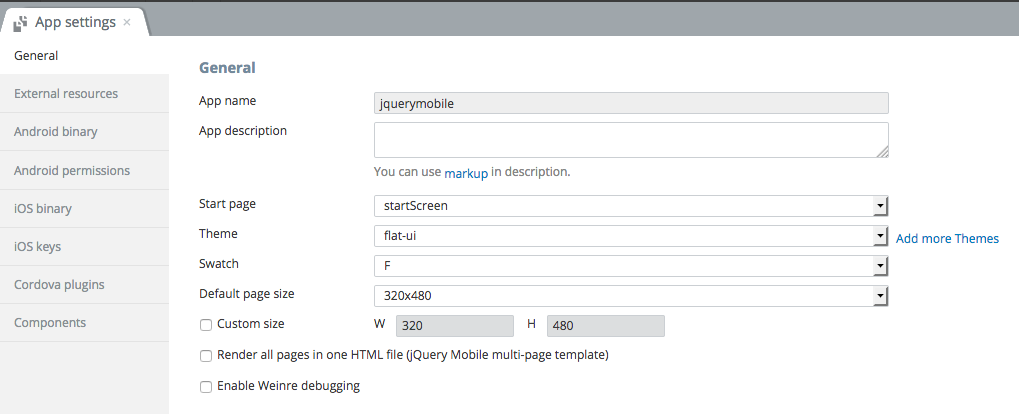 jQuery Mobile app settings.