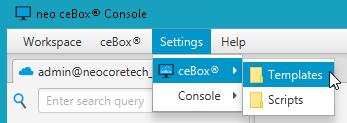 Pour Accéder au scripts, aller dans le menu Settings \ ceBox®  \scripts