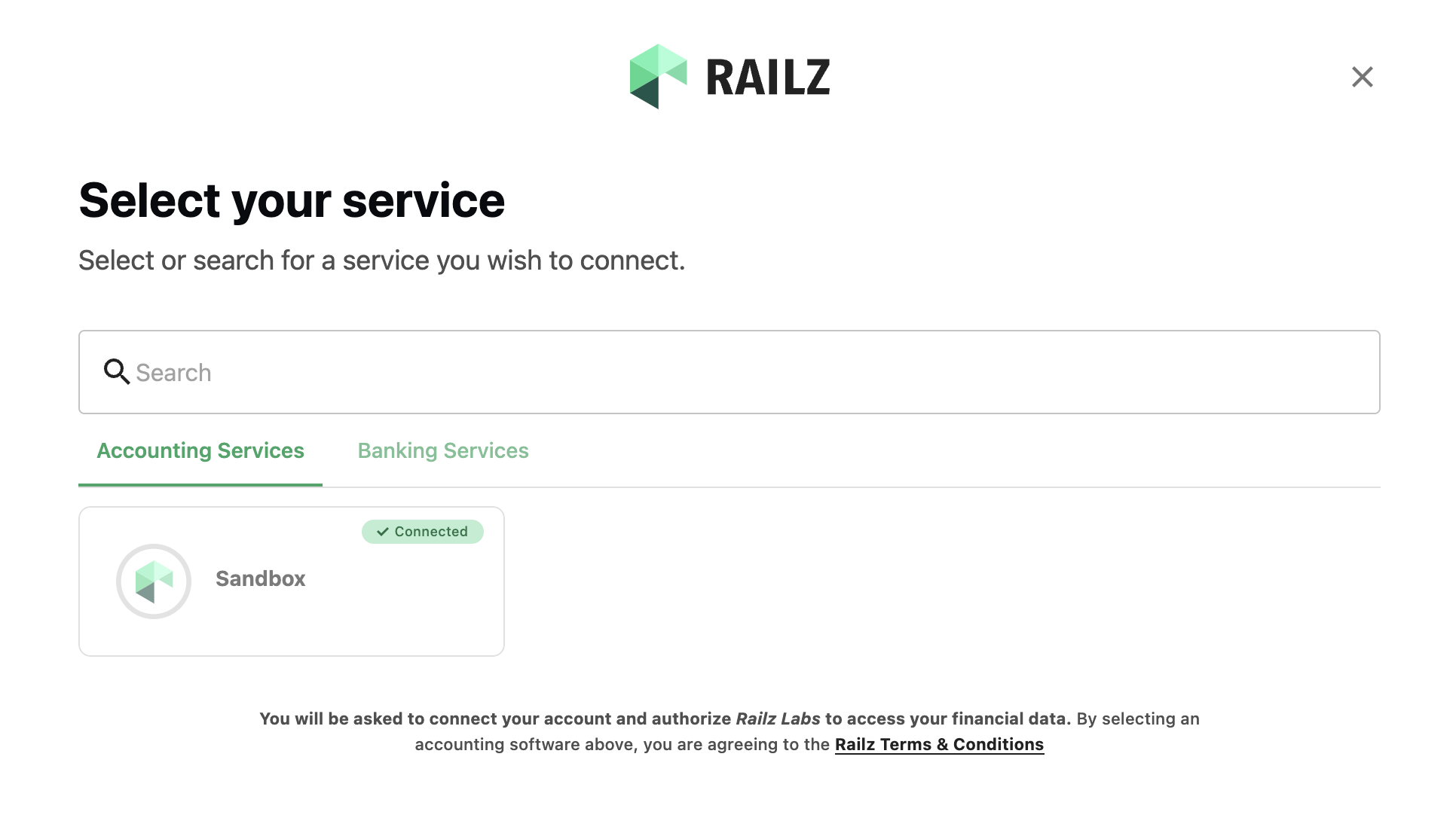Railz Connect - the business customers view when connecting their service providers to Railz.