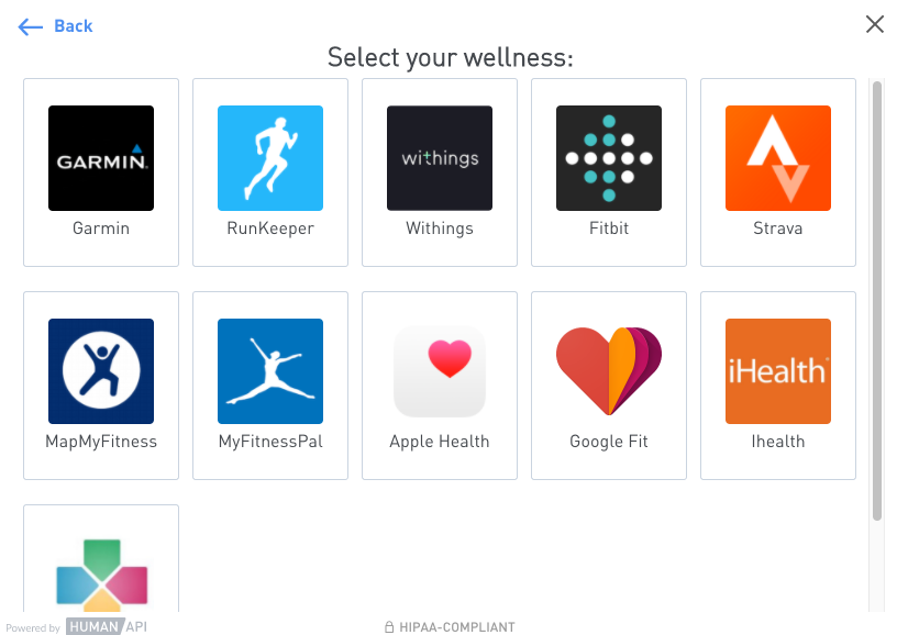 A user searching for their Wellness data source in Connect