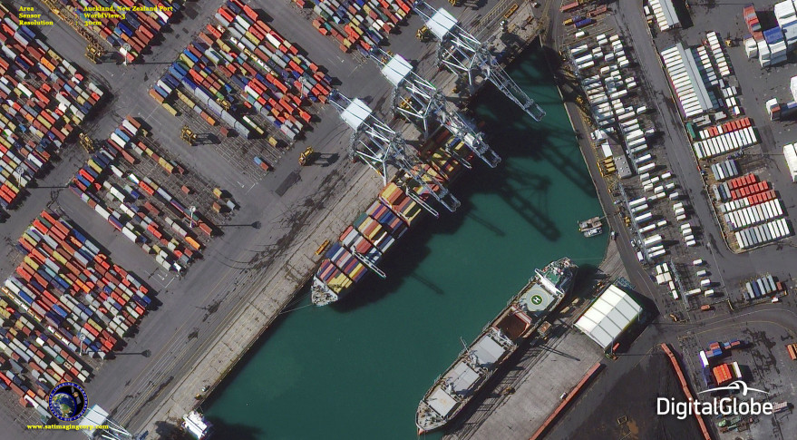 Auckland, New Zealand port. Worldview-3, 30-cm resolution.