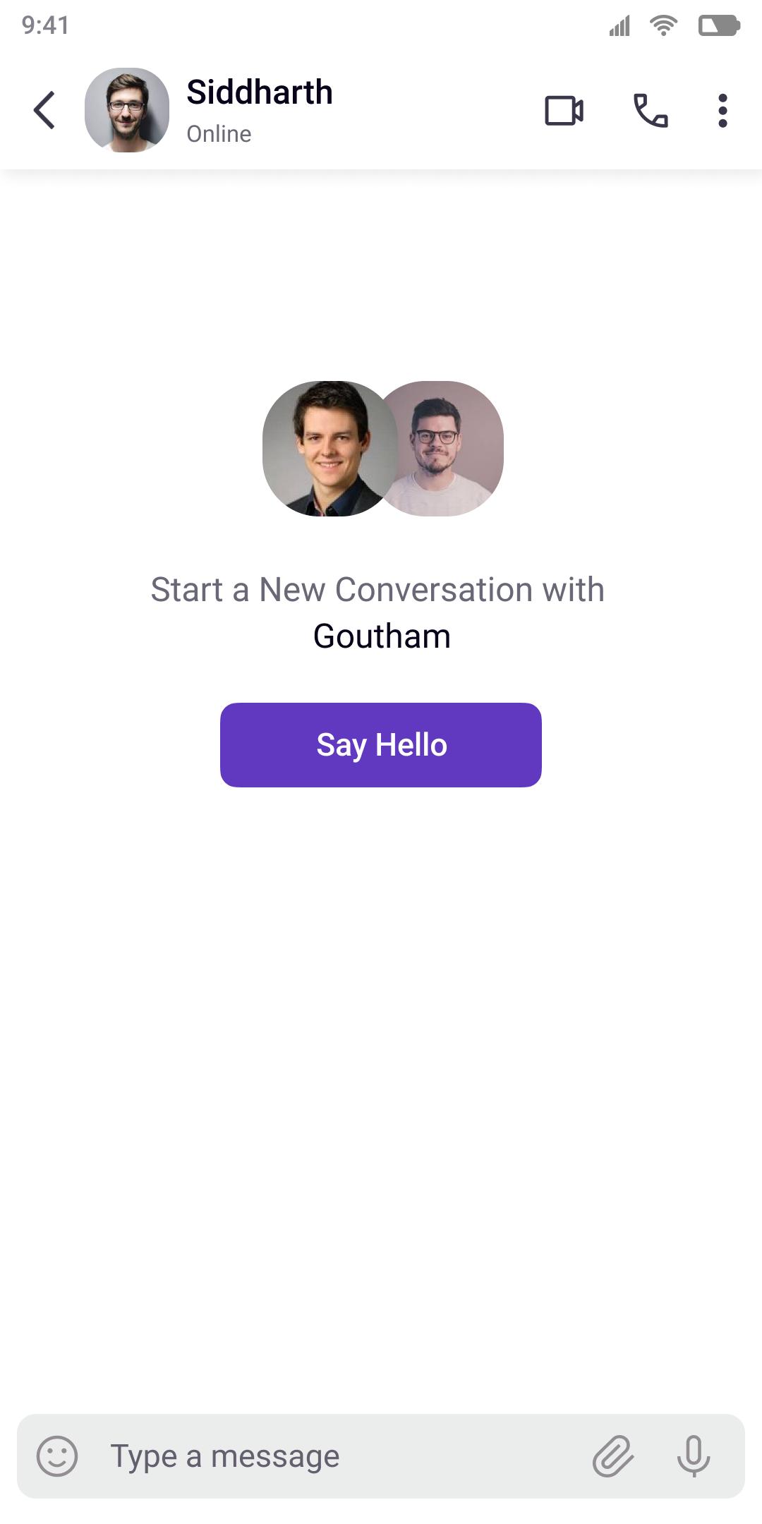 Start Conversation screen