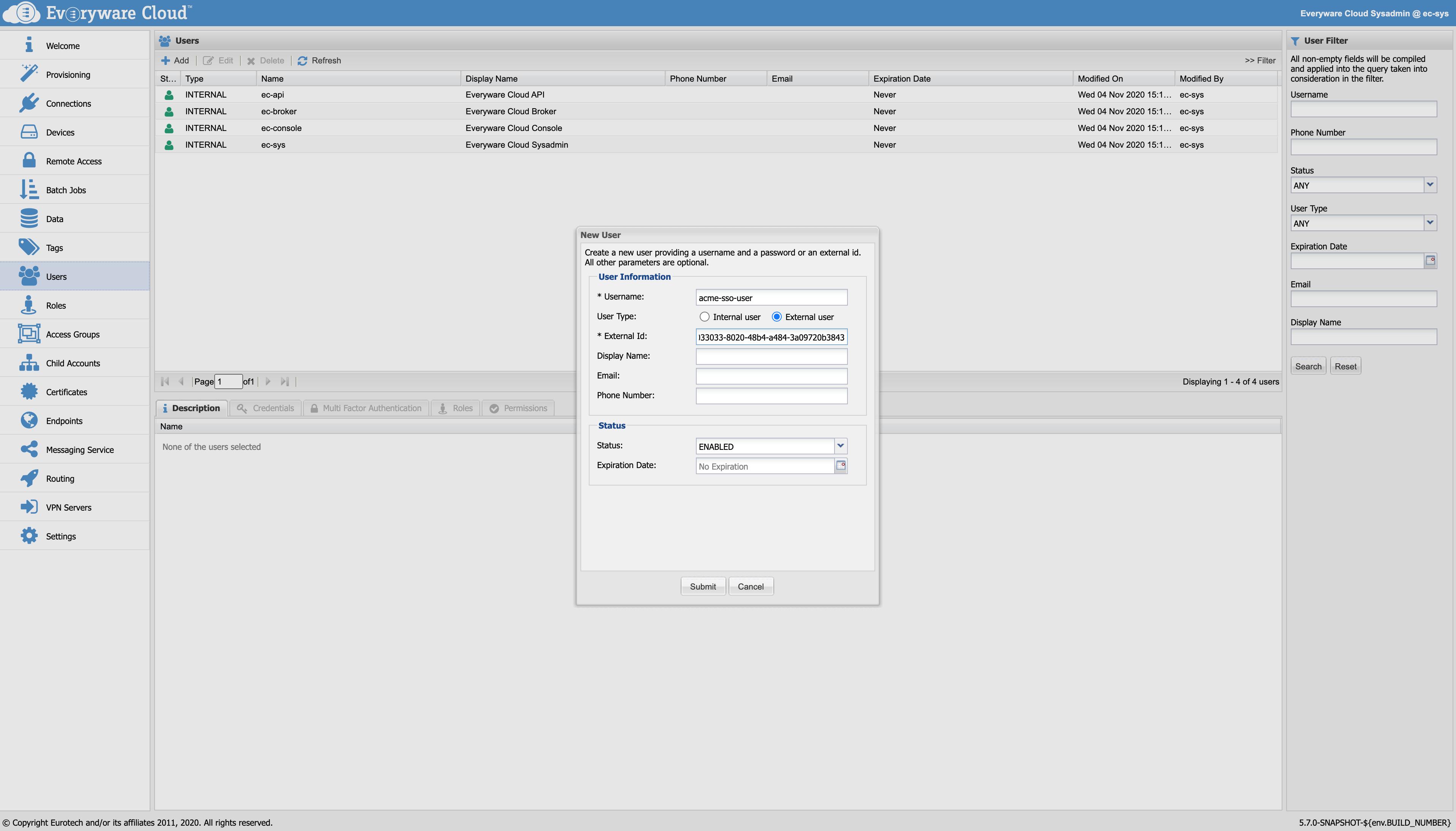 External user creation.