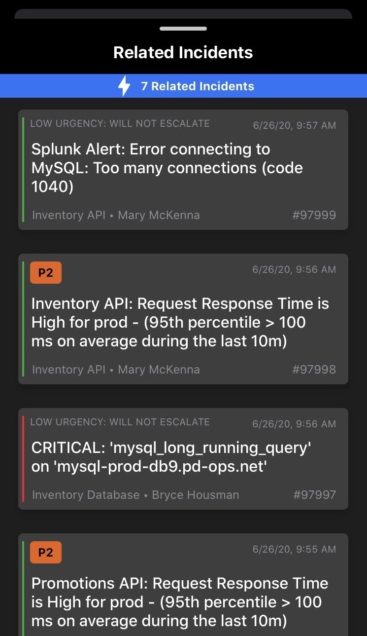 View the Related Incidents timeline in the Mobile App