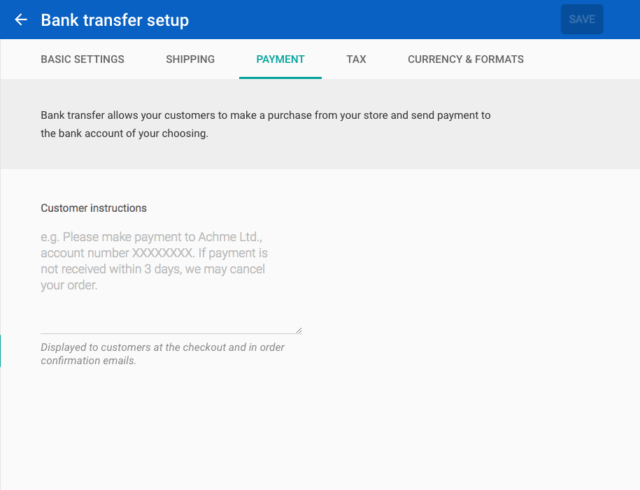 Bank transfer payment method