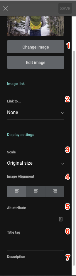 Image settings sidebar