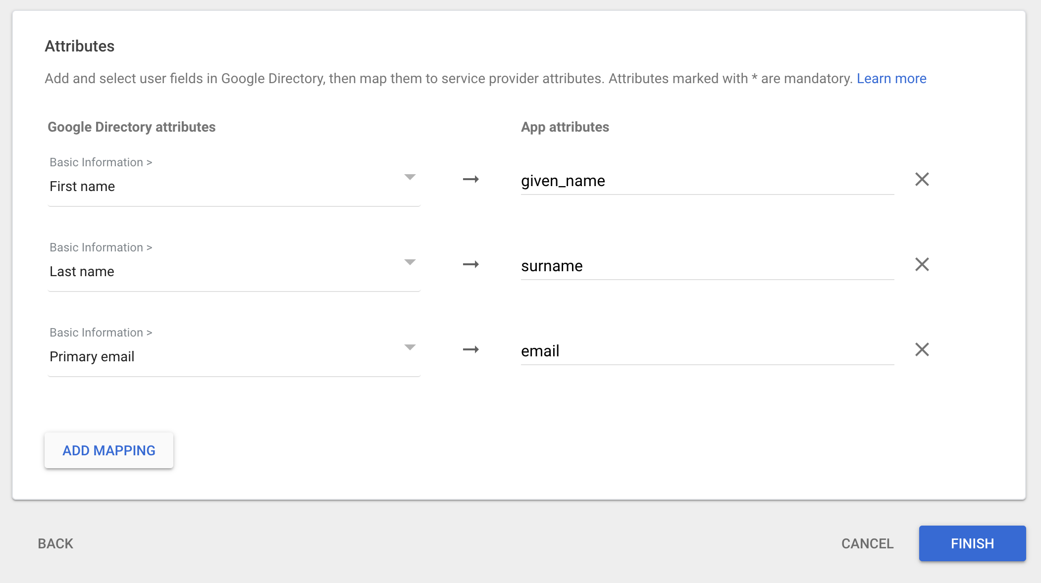 Configure SAML attribute mapping