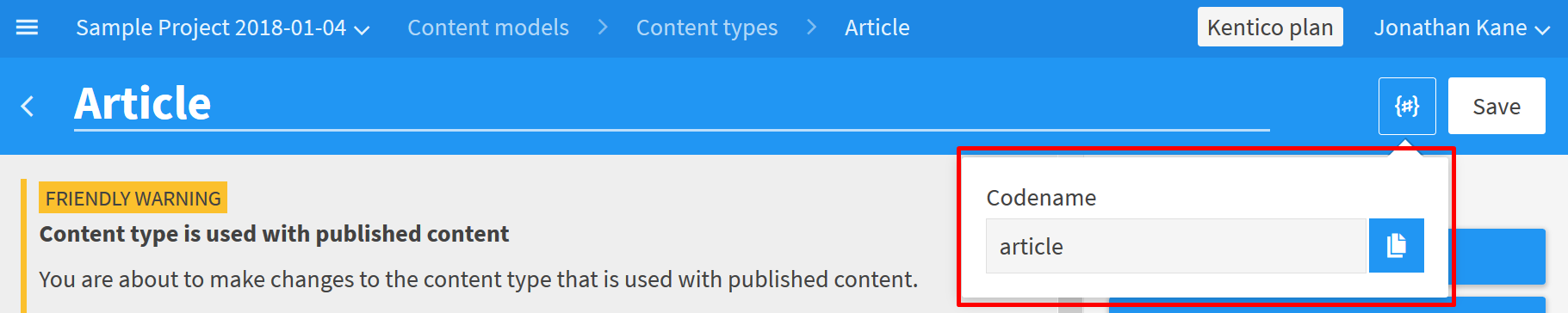 Example: Displaying the codename of the *Article* content type.