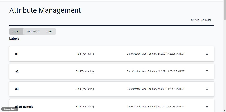 Attriibute Management Page