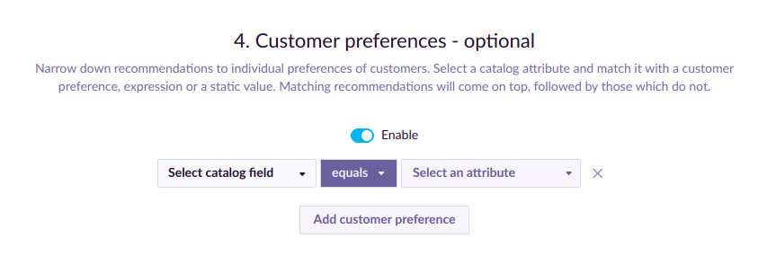 Example of Customer Preferences.