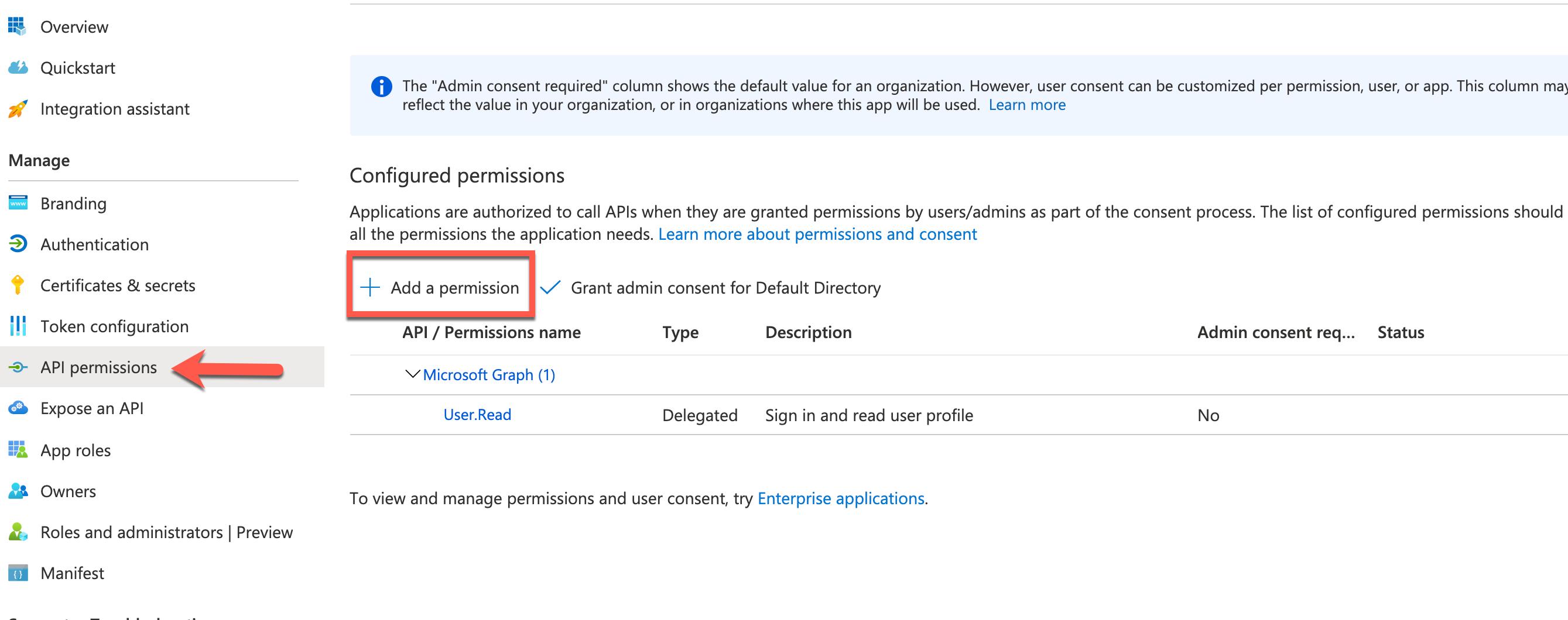 Azure Console - Add API Permissions