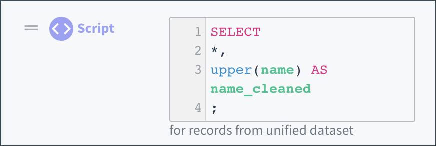 Color-coding the components of a simple script in the transformation editor.