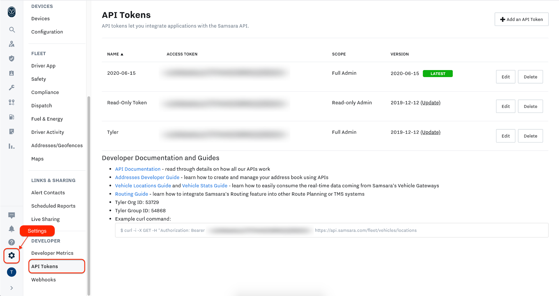 Samsara Dashboard -> Settings -> API Tokens