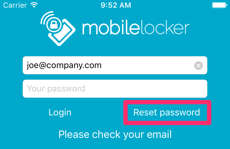 Enter your email address and tap Reset Password.