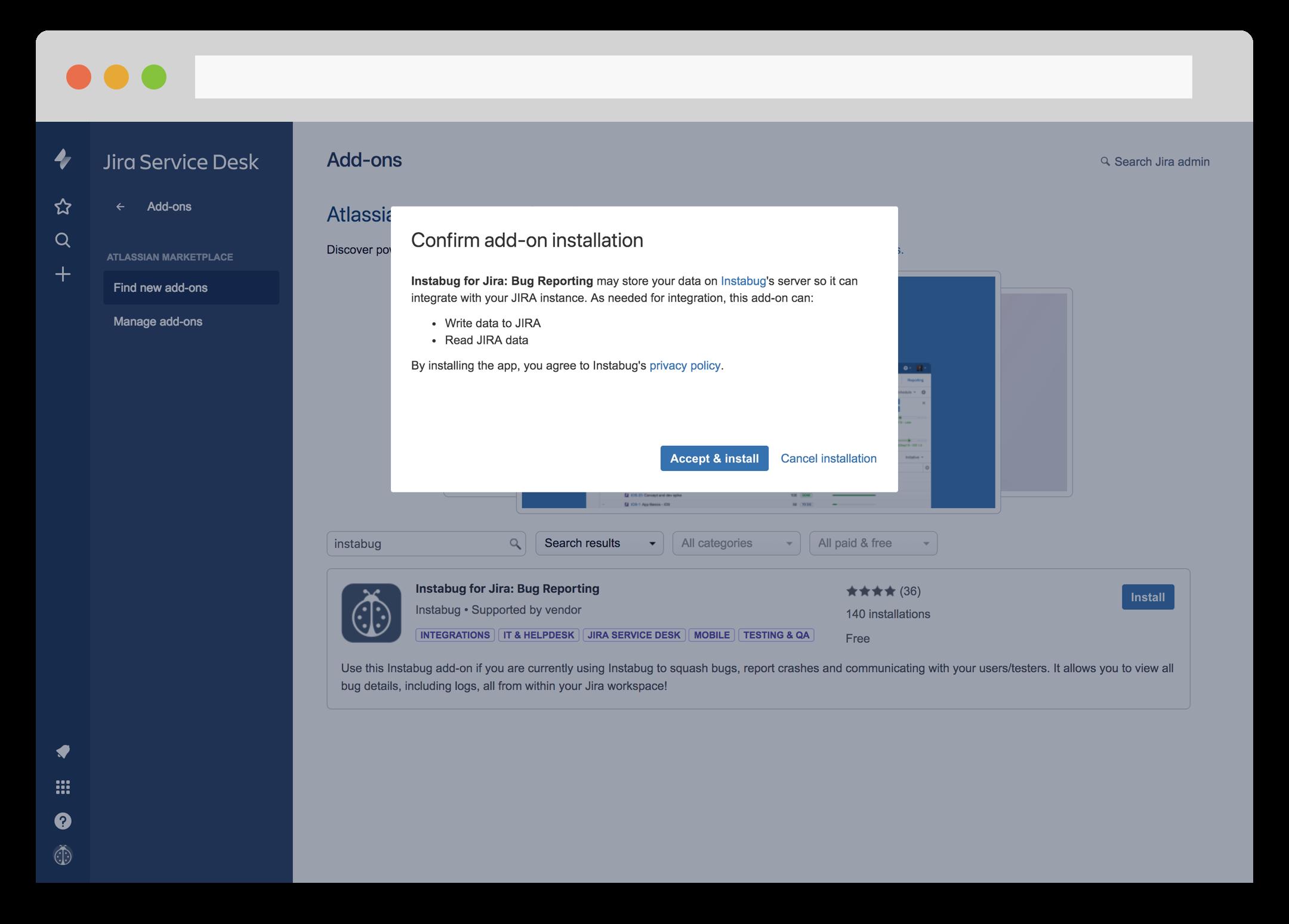 Instabug JIRA integration from JIRA's dashboard