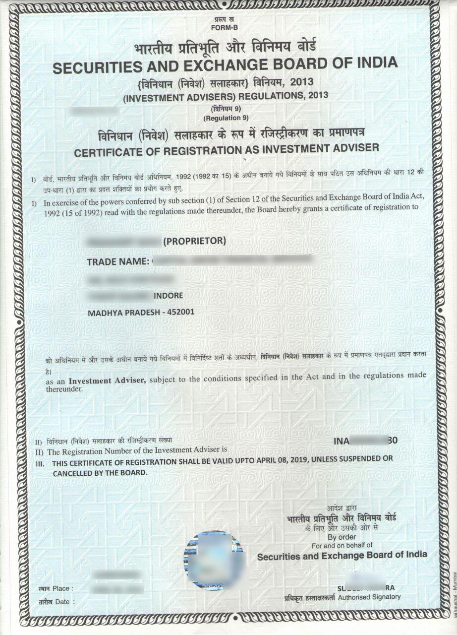 SEBI Certificate