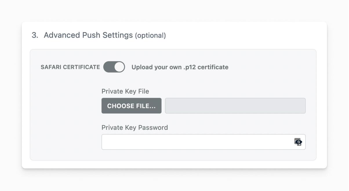 Advanced push settings in Wordpress Setup.