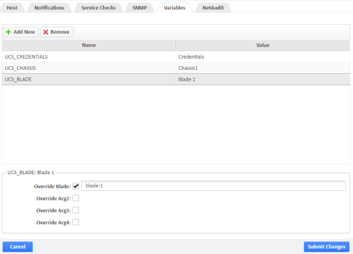 Example of Configuring Host Variables