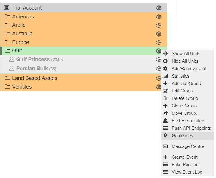 Select Geofences to set tracker behaviour