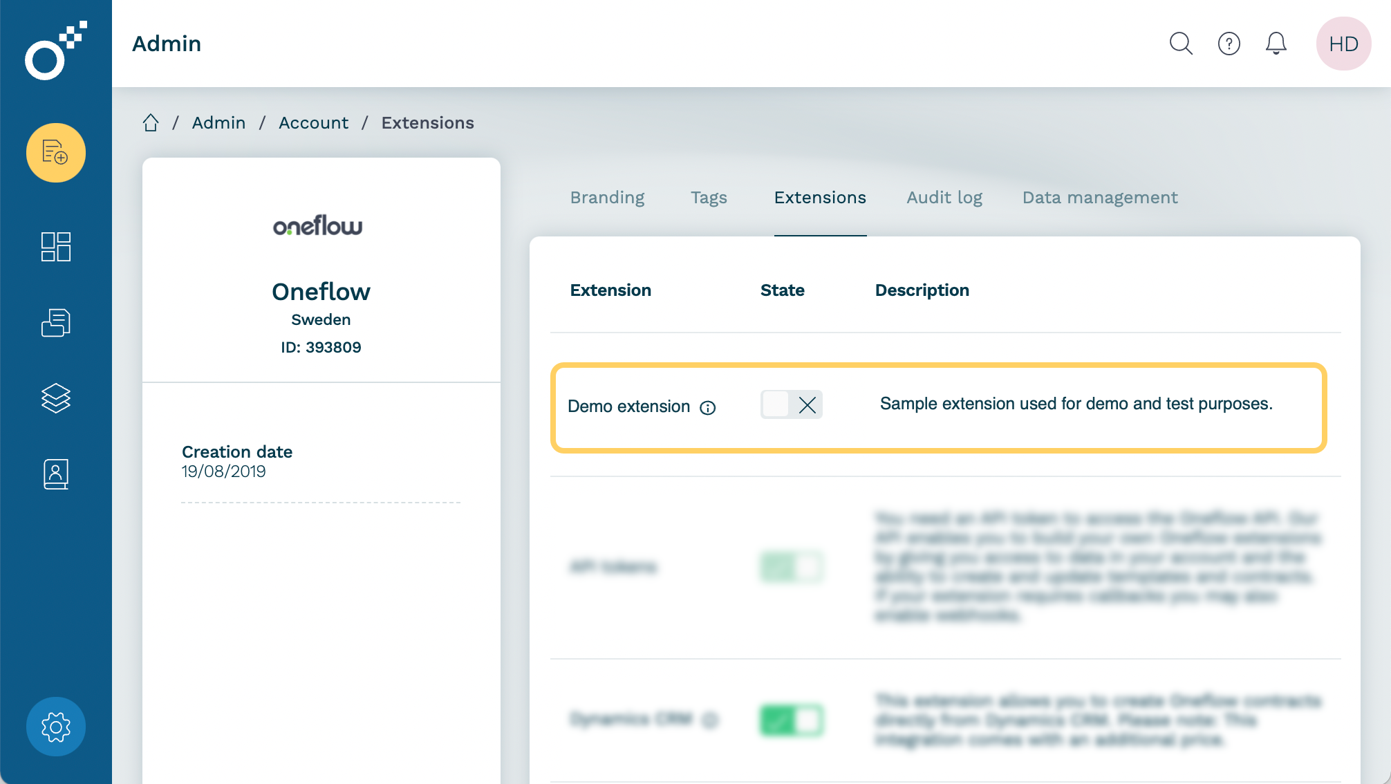 Example: The Demo extension integration extension is visible in Oneflow and can be activated with a single click.